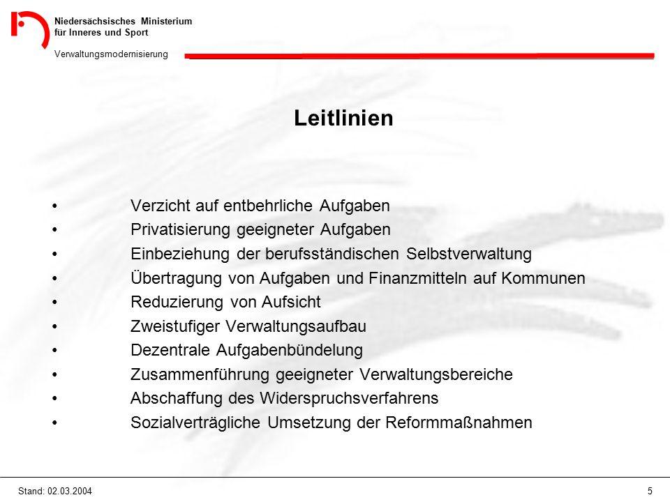 Niedersächsisches Ministerium für Inneres und Sport Verwaltungsmodernisierung 5Stand: 02.03.2004 Leitlinien Verzicht auf entbehrliche Aufgaben Privati
