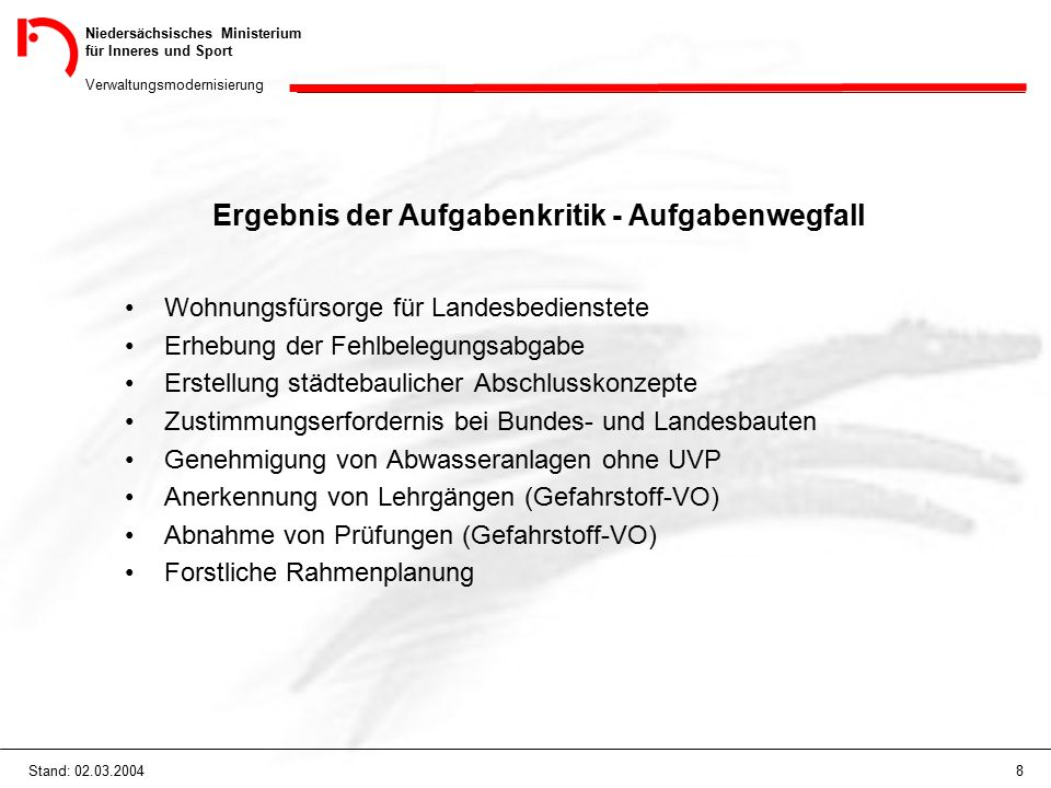 Niedersächsisches Ministerium für Inneres und Sport Verwaltungsmodernisierung 8Stand: 02.03.2004 Ergebnis der Aufgabenkritik - Aufgabenwegfall Wohnung