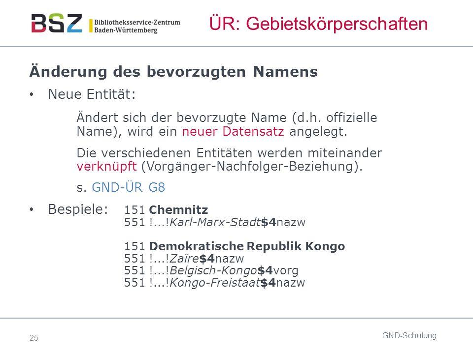 25 ÜR: Gebietskörperschaften Änderung des bevorzugten Namens Neue Entität: Ändert sich der bevorzugte Name (d.h.