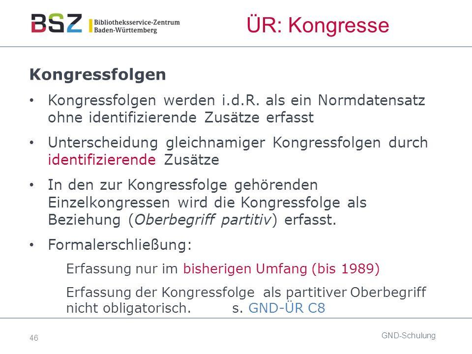 46 ÜR: Kongresse Kongressfolgen Kongressfolgen werden i.d.R.