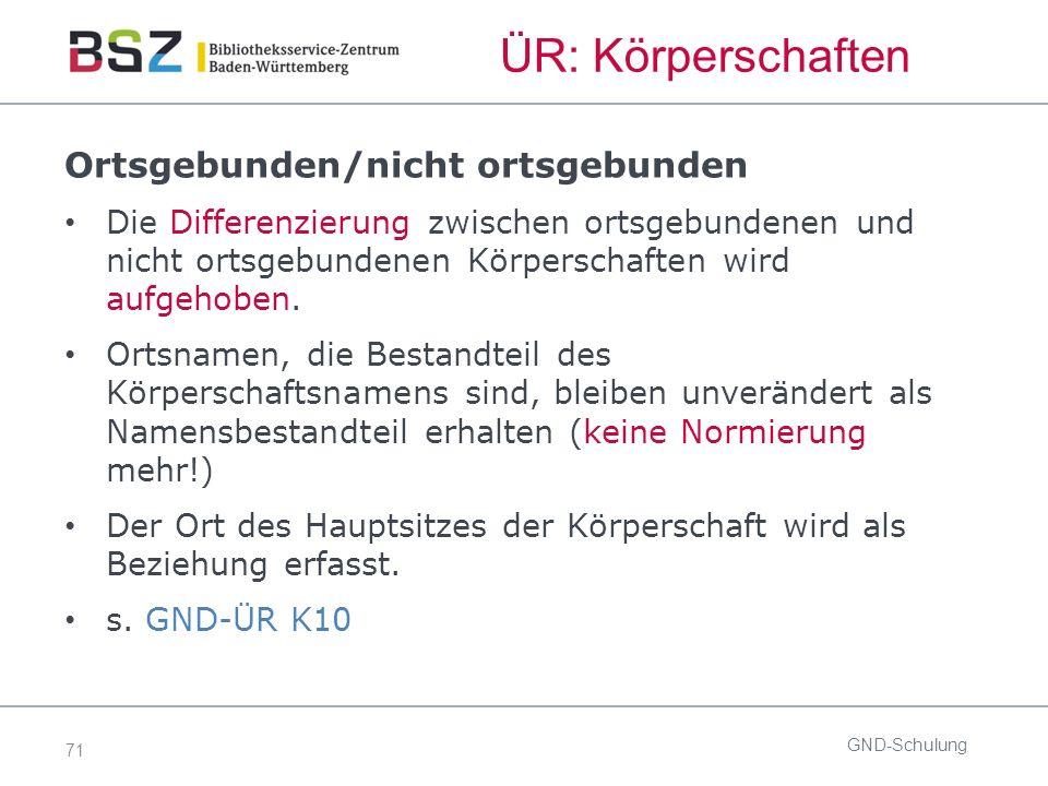 71 ÜR: Körperschaften GND-Schulung Ortsgebunden/nicht ortsgebunden Die Differenzierung zwischen ortsgebundenen und nicht ortsgebundenen Körperschaften wird aufgehoben.