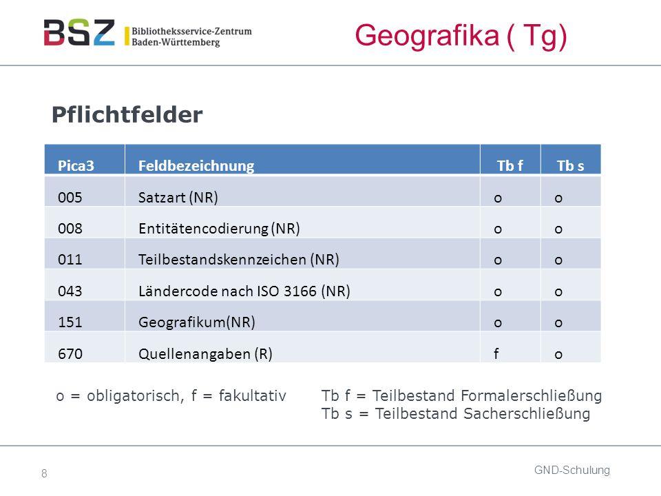 29 ÜR: Gebietskörperschaften GND-Schulung Zusammenfassung Der bevorzugte Name wird nach Möglichkeit deutschsprachig gebildet.