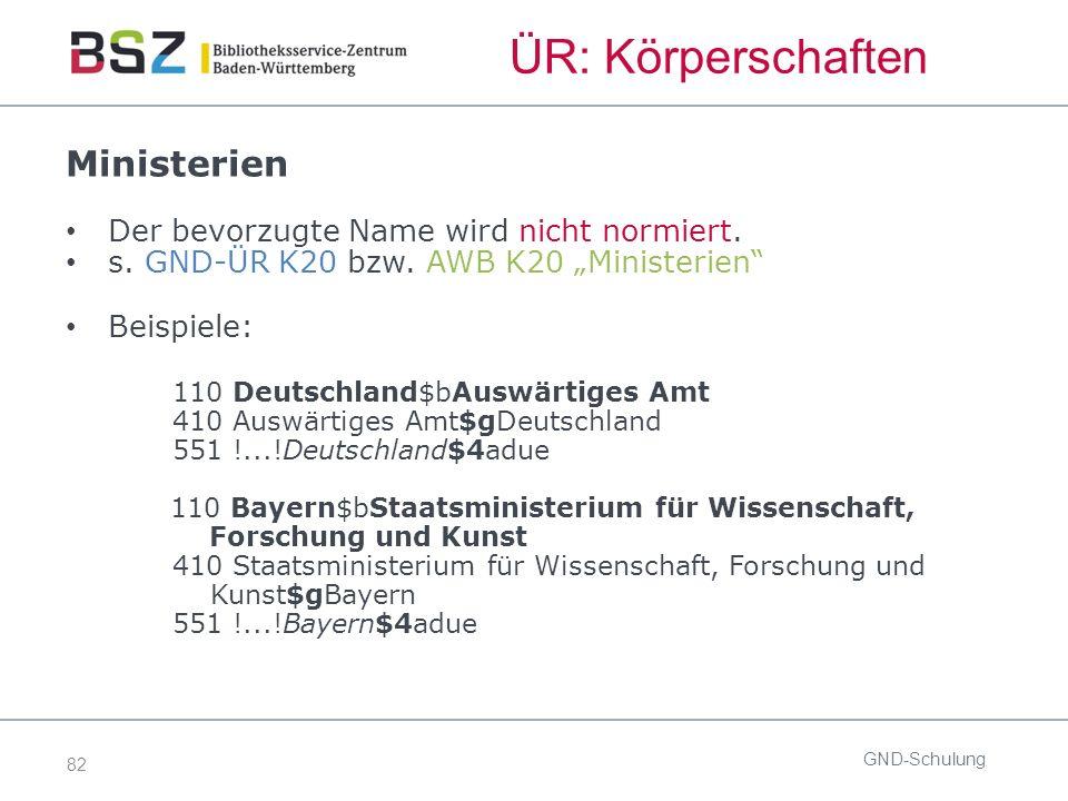 82 ÜR: Körperschaften Ministerien Der bevorzugte Name wird nicht normiert.