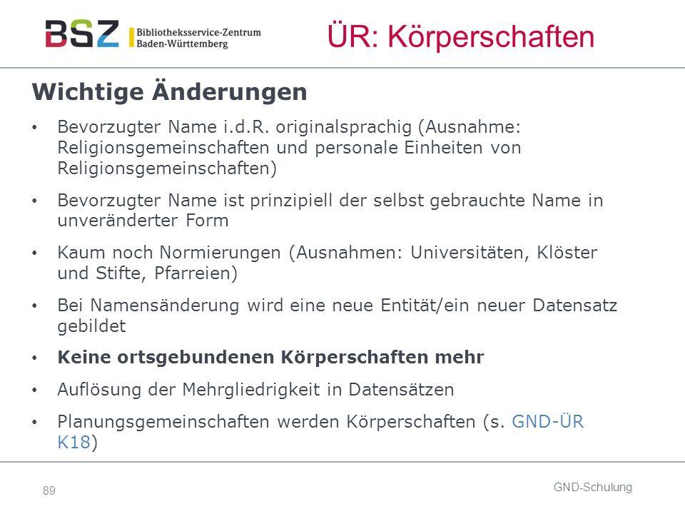 89 ÜR: Körperschaften Wichtige Änderungen Bevorzugter Name i.d.R.