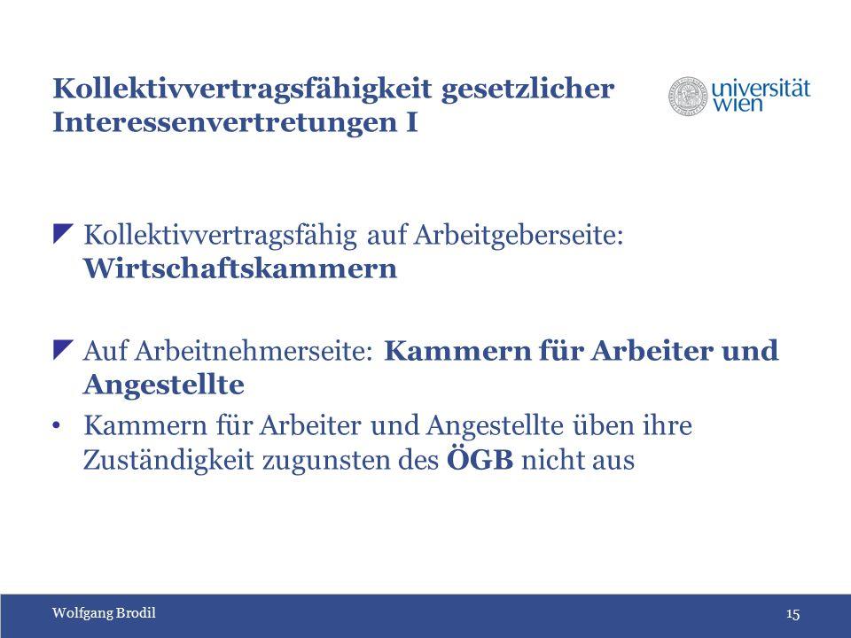 Wolfgang Brodil15 Kollektivvertragsfähigkeit gesetzlicher Interessenvertretungen I  Kollektivvertragsfähig auf Arbeitgeberseite: Wirtschaftskammern 