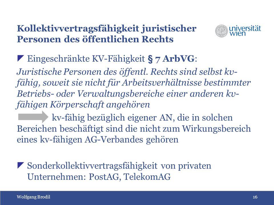 Wolfgang Brodil16 Kollektivvertragsfähigkeit juristischer Personen des öffentlichen Rechts  Eingeschränkte KV-Fähigkeit § 7 ArbVG: Juristische Person
