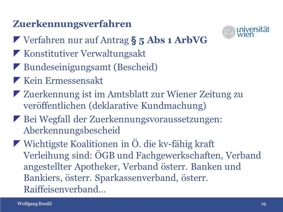 Wolfgang Brodil19 Zuerkennungsverfahren  Verfahren nur auf Antrag § 5 Abs 1 ArbVG  Konstitutiver Verwaltungsakt  Bundeseinigungsamt (Bescheid)  Ke