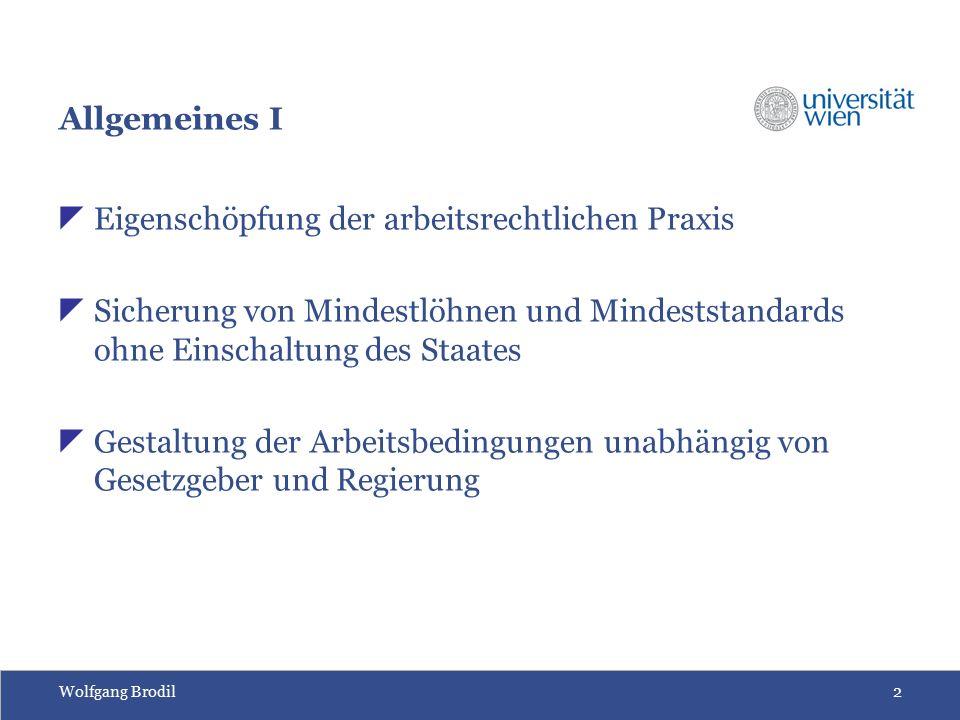 Wolfgang Brodil2 Allgemeines I  Eigenschöpfung der arbeitsrechtlichen Praxis  Sicherung von Mindestlöhnen und Mindeststandards ohne Einschaltung des
