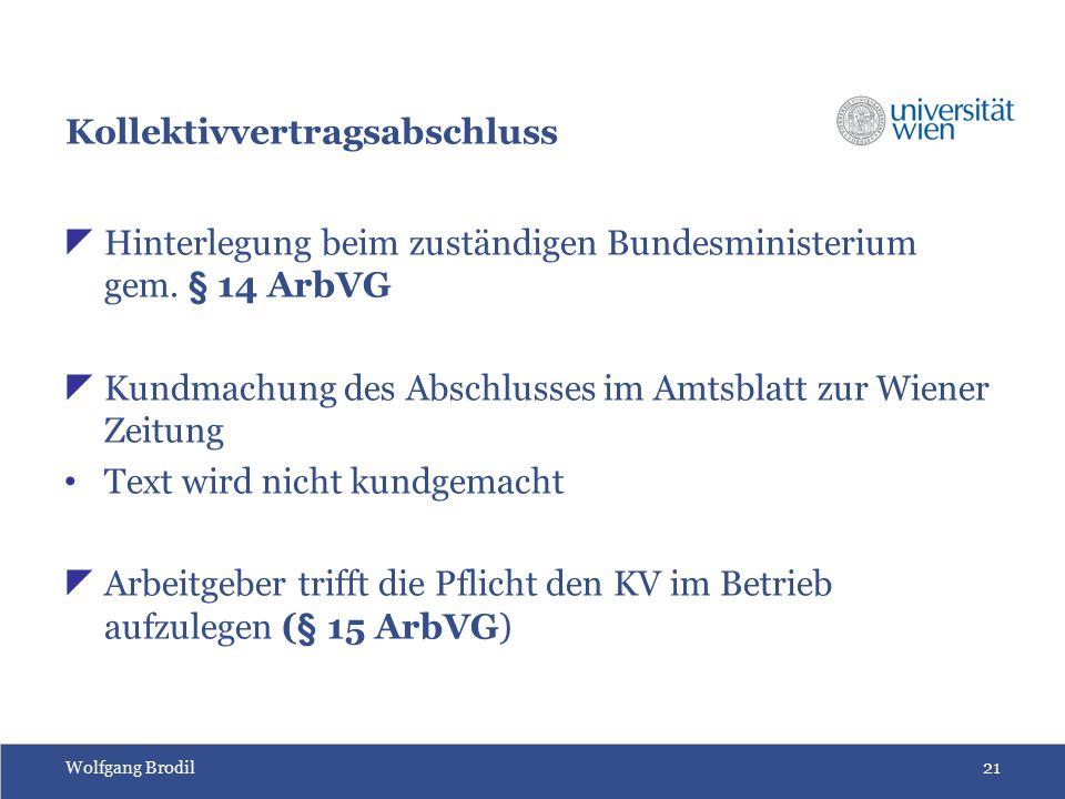 Wolfgang Brodil21 Kollektivvertragsabschluss  Hinterlegung beim zuständigen Bundesministerium gem. § 14 ArbVG  Kundmachung des Abschlusses im Amtsbl