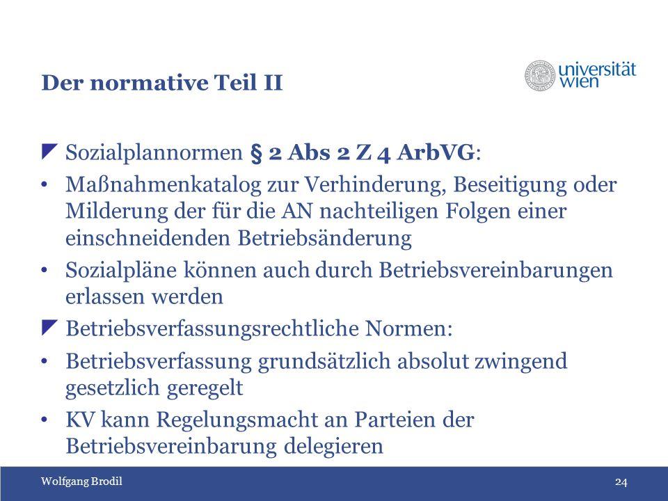 Wolfgang Brodil24 Der normative Teil II  Sozialplannormen § 2 Abs 2 Z 4 ArbVG: Maßnahmenkatalog zur Verhinderung, Beseitigung oder Milderung der für