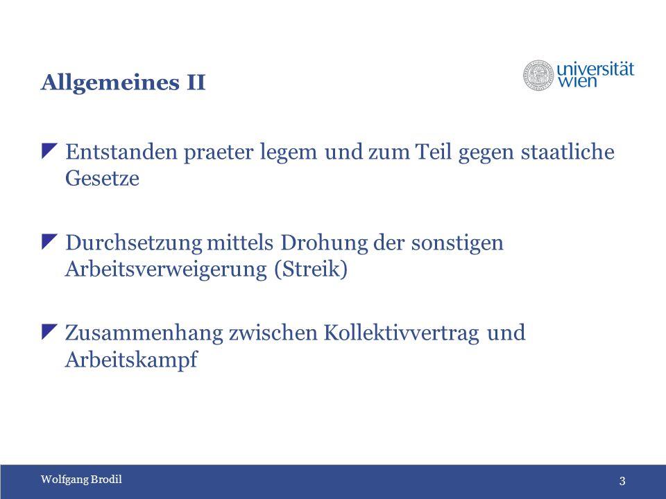Wolfgang Brodil3 Allgemeines II  Entstanden praeter legem und zum Teil gegen staatliche Gesetze  Durchsetzung mittels Drohung der sonstigen Arbeitsverweigerung (Streik)  Zusammenhang zwischen Kollektivvertrag und Arbeitskampf