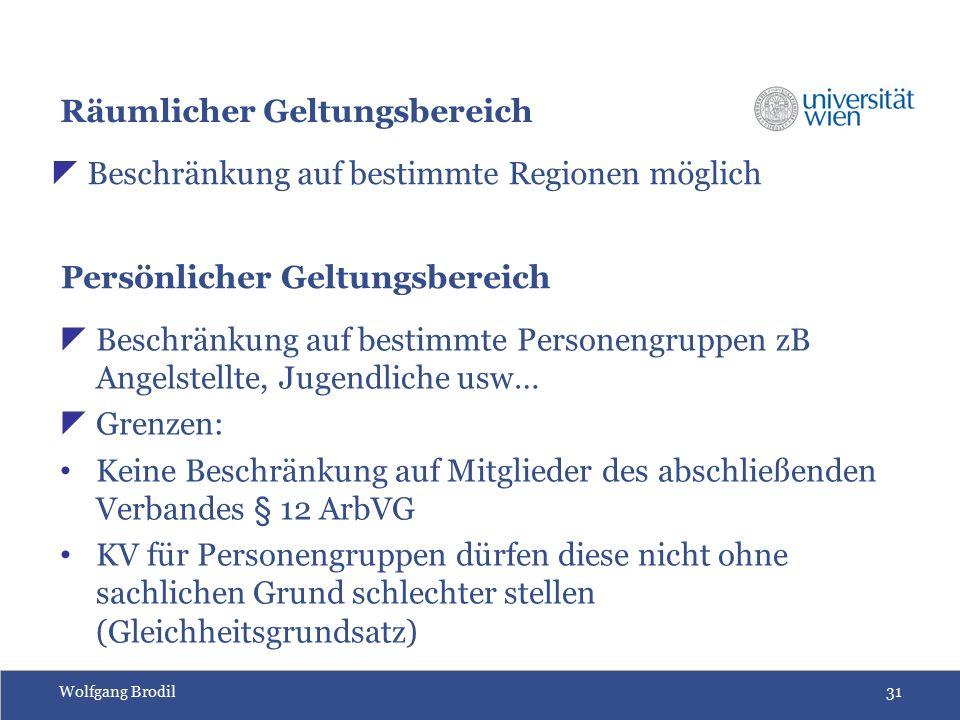 Wolfgang Brodil31 Räumlicher Geltungsbereich  Beschränkung auf bestimmte Regionen möglich Persönlicher Geltungsbereich  Beschränkung auf bestimmte P