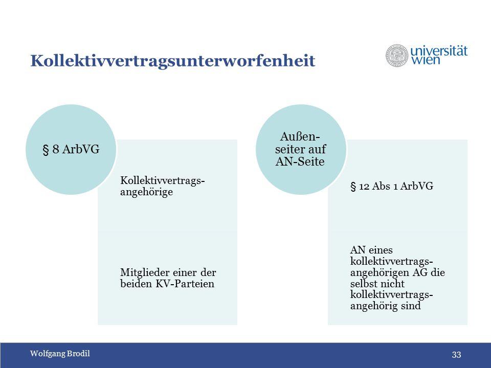 Wolfgang Brodil33 Kollektivvertragsunterworfenheit Kollektivvertrags- angehörige Mitglieder einer der beiden KV-Parteien § 8 ArbVG § 12 Abs 1 ArbVG AN eines kollektivvertrags- angehörigen AG die selbst nicht kollektivvertrags- angehörig sind Außen- seiter auf AN-Seite