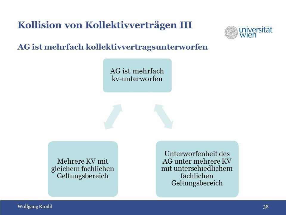 Wolfgang Brodil38 Kollision von Kollektivverträgen III AG ist mehrfach kollektivvertragsunterworfen AG ist mehrfach kv-unterworfen Unterworfenheit des AG unter mehrere KV mit unterschiedlichem fachlichen Geltungsbereich Mehrere KV mit gleichem fachlichen Geltungsbereich