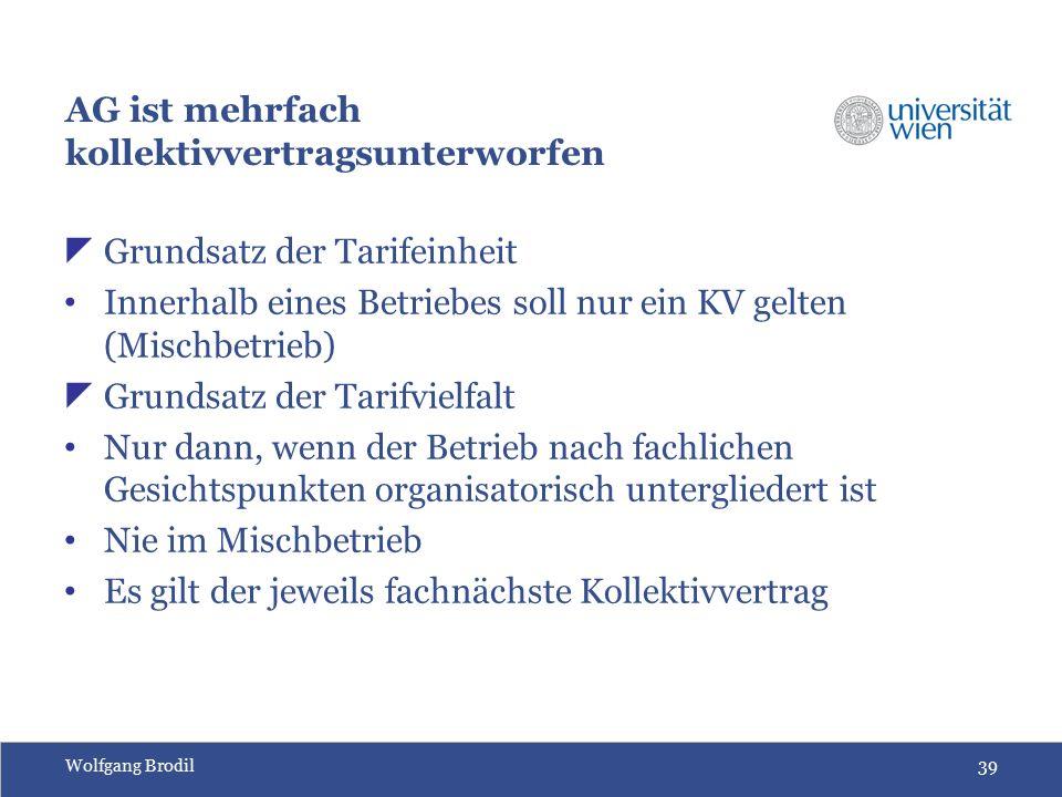 Wolfgang Brodil39 AG ist mehrfach kollektivvertragsunterworfen  Grundsatz der Tarifeinheit Innerhalb eines Betriebes soll nur ein KV gelten (Mischbetrieb)  Grundsatz der Tarifvielfalt Nur dann, wenn der Betrieb nach fachlichen Gesichtspunkten organisatorisch untergliedert ist Nie im Mischbetrieb Es gilt der jeweils fachnächste Kollektivvertrag