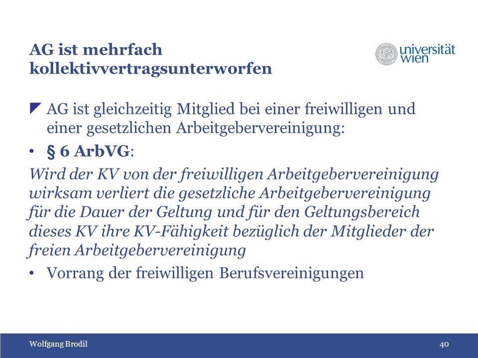 Wolfgang Brodil40 AG ist mehrfach kollektivvertragsunterworfen  AG ist gleichzeitig Mitglied bei einer freiwilligen und einer gesetzlichen Arbeitgebe
