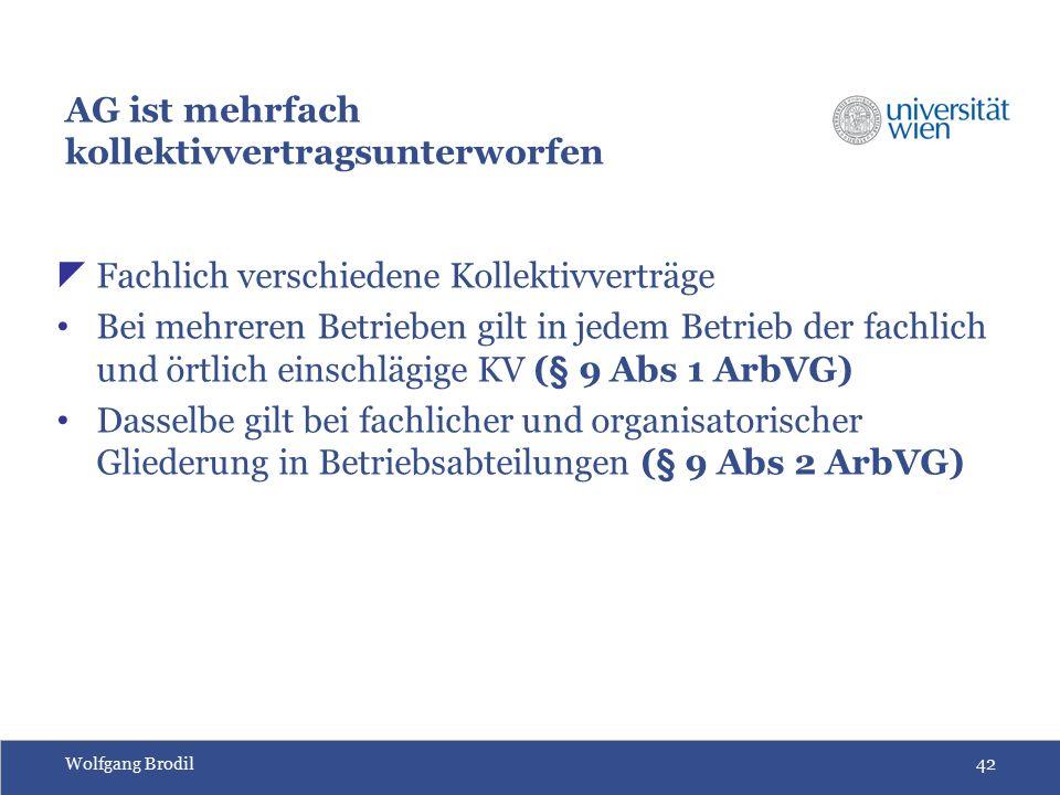 Wolfgang Brodil42 AG ist mehrfach kollektivvertragsunterworfen  Fachlich verschiedene Kollektivverträge Bei mehreren Betrieben gilt in jedem Betrieb