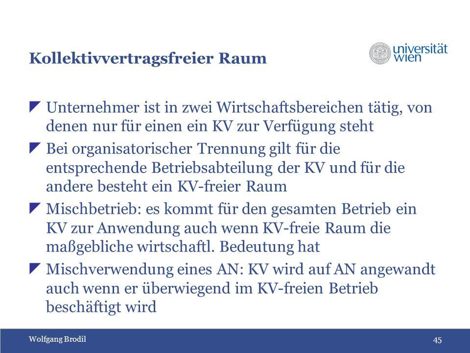 Wolfgang Brodil45 Kollektivvertragsfreier Raum  Unternehmer ist in zwei Wirtschaftsbereichen tätig, von denen nur für einen ein KV zur Verfügung steht  Bei organisatorischer Trennung gilt für die entsprechende Betriebsabteilung der KV und für die andere besteht ein KV-freier Raum  Mischbetrieb: es kommt für den gesamten Betrieb ein KV zur Anwendung auch wenn KV-freie Raum die maßgebliche wirtschaftl.