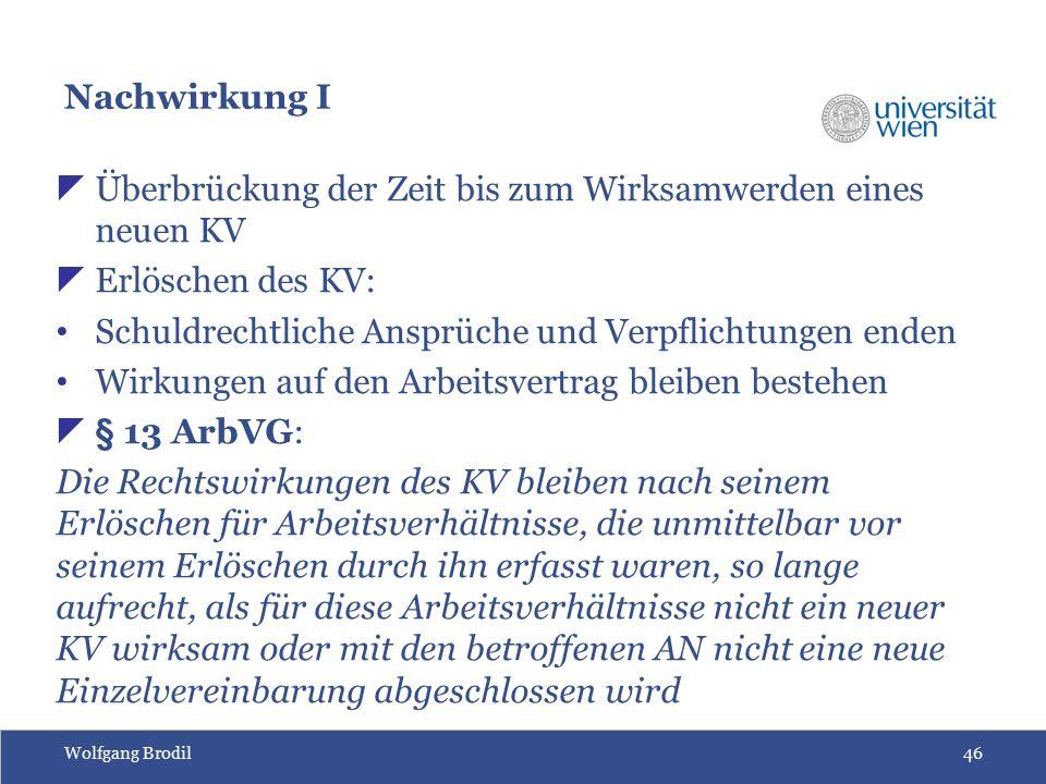 Wolfgang Brodil46 Nachwirkung I  Überbrückung der Zeit bis zum Wirksamwerden eines neuen KV  Erlöschen des KV: Schuldrechtliche Ansprüche und Verpfl