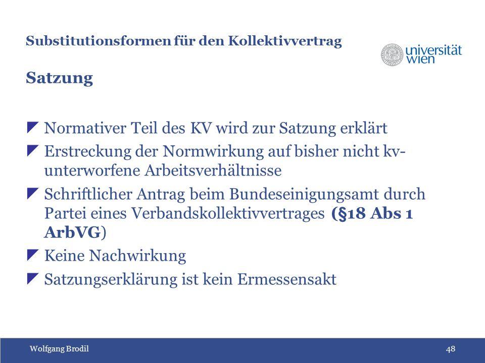 Wolfgang Brodil48 Substitutionsformen für den Kollektivvertrag Satzung  Normativer Teil des KV wird zur Satzung erklärt  Erstreckung der Normwirkung