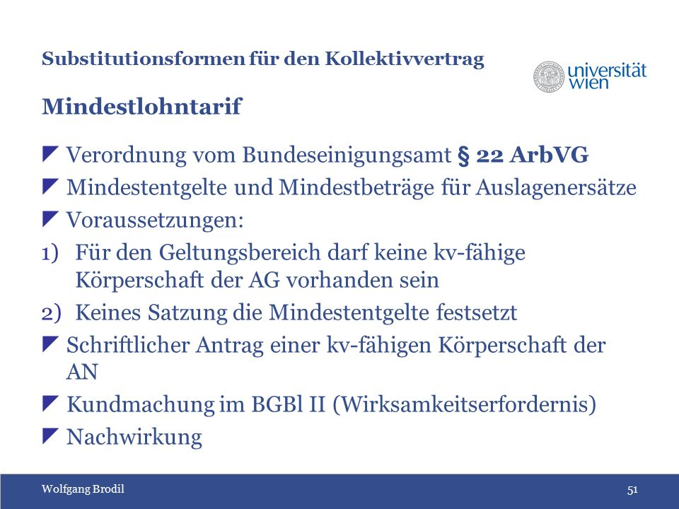 Wolfgang Brodil51 Substitutionsformen für den Kollektivvertrag Mindestlohntarif  Verordnung vom Bundeseinigungsamt § 22 ArbVG  Mindestentgelte und Mindestbeträge für Auslagenersätze  Voraussetzungen: 1)Für den Geltungsbereich darf keine kv-fähige Körperschaft der AG vorhanden sein 2)Keines Satzung die Mindestentgelte festsetzt  Schriftlicher Antrag einer kv-fähigen Körperschaft der AN  Kundmachung im BGBl II (Wirksamkeitserfordernis)  Nachwirkung