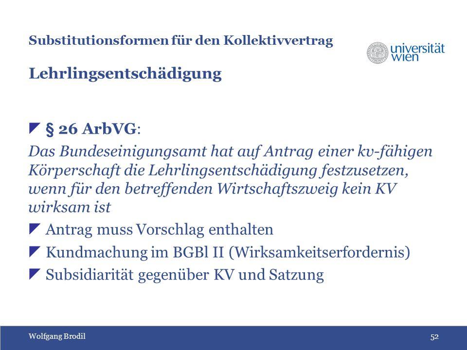 Wolfgang Brodil52 Substitutionsformen für den Kollektivvertrag Lehrlingsentschädigung  § 26 ArbVG: Das Bundeseinigungsamt hat auf Antrag einer kv-fäh