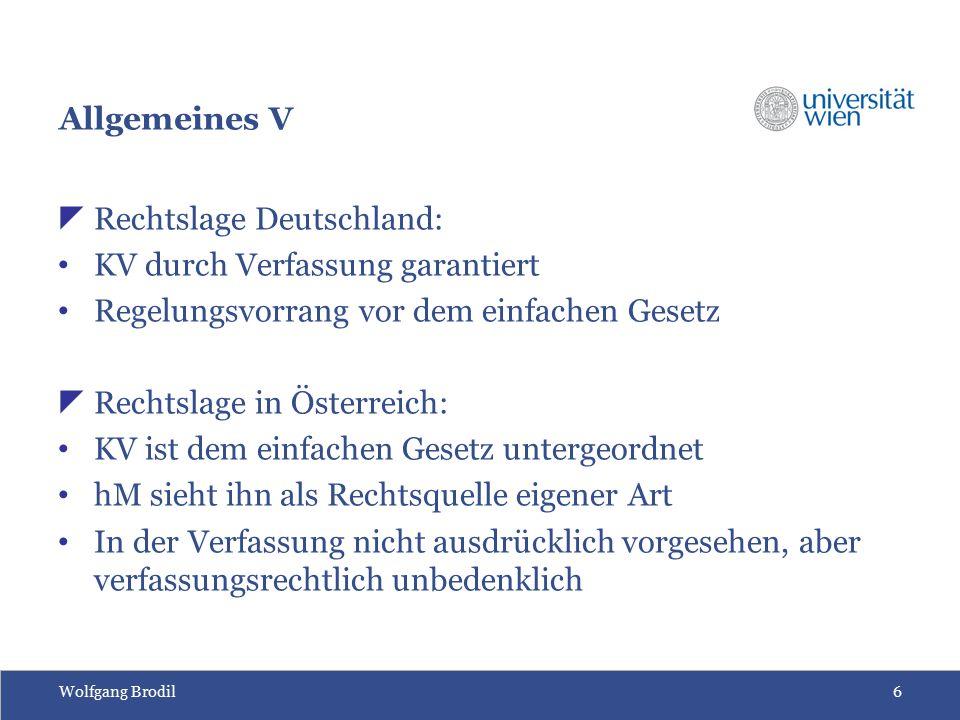 Wolfgang Brodil7 Allgemeines VI  Gesetzgeber hat dem Regelungsbereich der Kollektivvertragsparteien inhaltliche Grenzen gezogen  Kollektivvertragsgedanke auch auf andere Bereiche übertragen  Internationaler Kollektivvertrag für multinationale Konzerne (derzeit noch ungelöstes Problem)