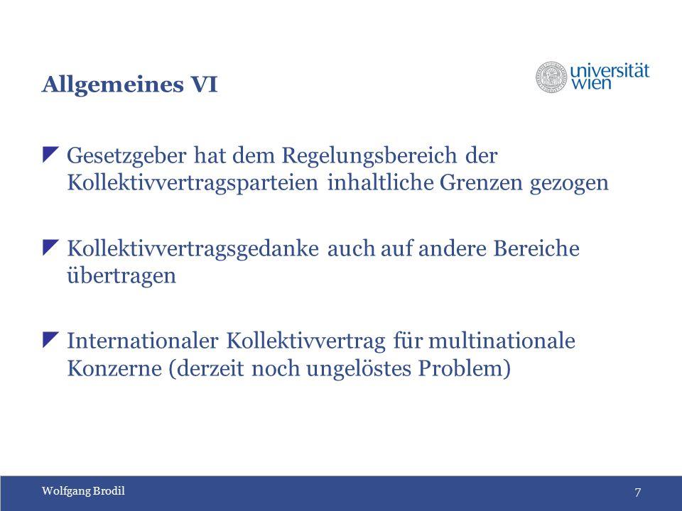 Wolfgang Brodil48 Substitutionsformen für den Kollektivvertrag Satzung  Normativer Teil des KV wird zur Satzung erklärt  Erstreckung der Normwirkung auf bisher nicht kv- unterworfene Arbeitsverhältnisse  Schriftlicher Antrag beim Bundeseinigungsamt durch Partei eines Verbandskollektivvertrages (§18 Abs 1 ArbVG)  Keine Nachwirkung  Satzungserklärung ist kein Ermessensakt