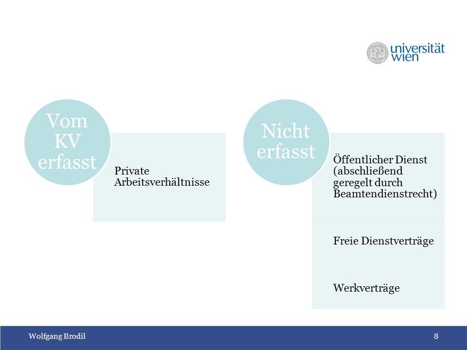 Wolfgang Brodil8 Private Arbeitsverhältnisse Vom KV erfasst Öffentlicher Dienst (abschließend geregelt durch Beamtendienstrecht) Freie Dienstverträge