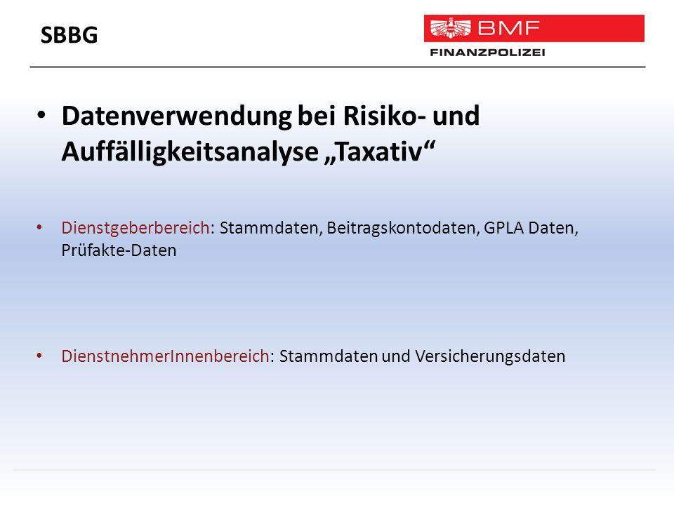 """Datenverwendung bei Risiko- und Auffälligkeitsanalyse """"Taxativ Dienstgeberbereich: Stammdaten, Beitragskontodaten, GPLA Daten, Prüfakte-Daten DienstnehmerInnenbereich: Stammdaten und Versicherungsdaten SBBG"""