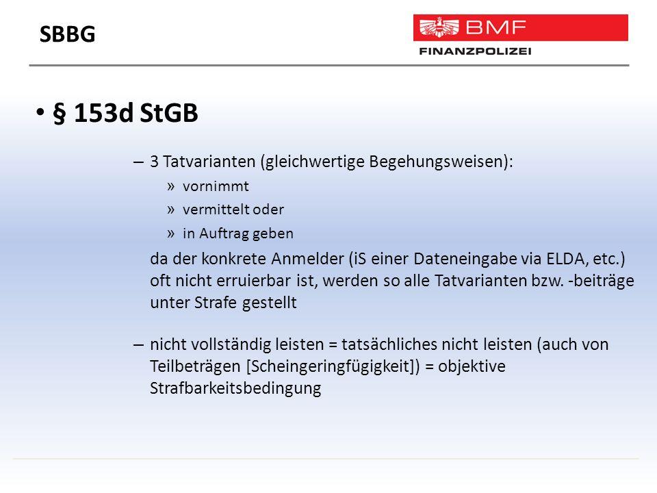 § 153d StGB – 3 Tatvarianten (gleichwertige Begehungsweisen): » vornimmt » vermittelt oder » in Auftrag geben da der konkrete Anmelder (iS einer Dateneingabe via ELDA, etc.) oft nicht erruierbar ist, werden so alle Tatvarianten bzw.