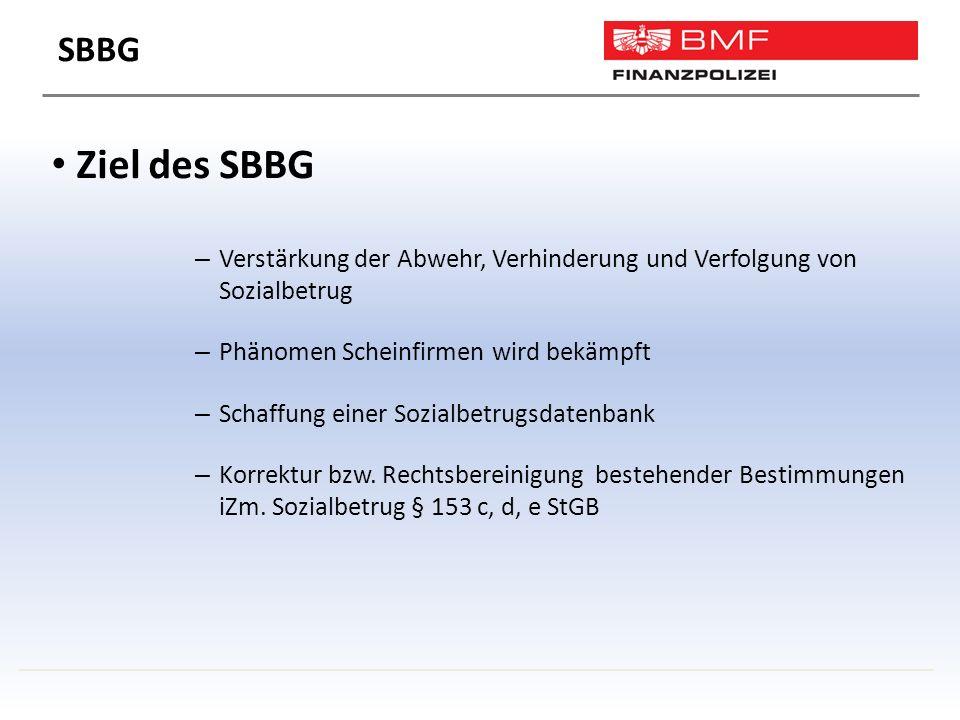 Ziel des SBBG – Verstärkung der Abwehr, Verhinderung und Verfolgung von Sozialbetrug – Phänomen Scheinfirmen wird bekämpft – Schaffung einer Sozialbetrugsdatenbank – Korrektur bzw.