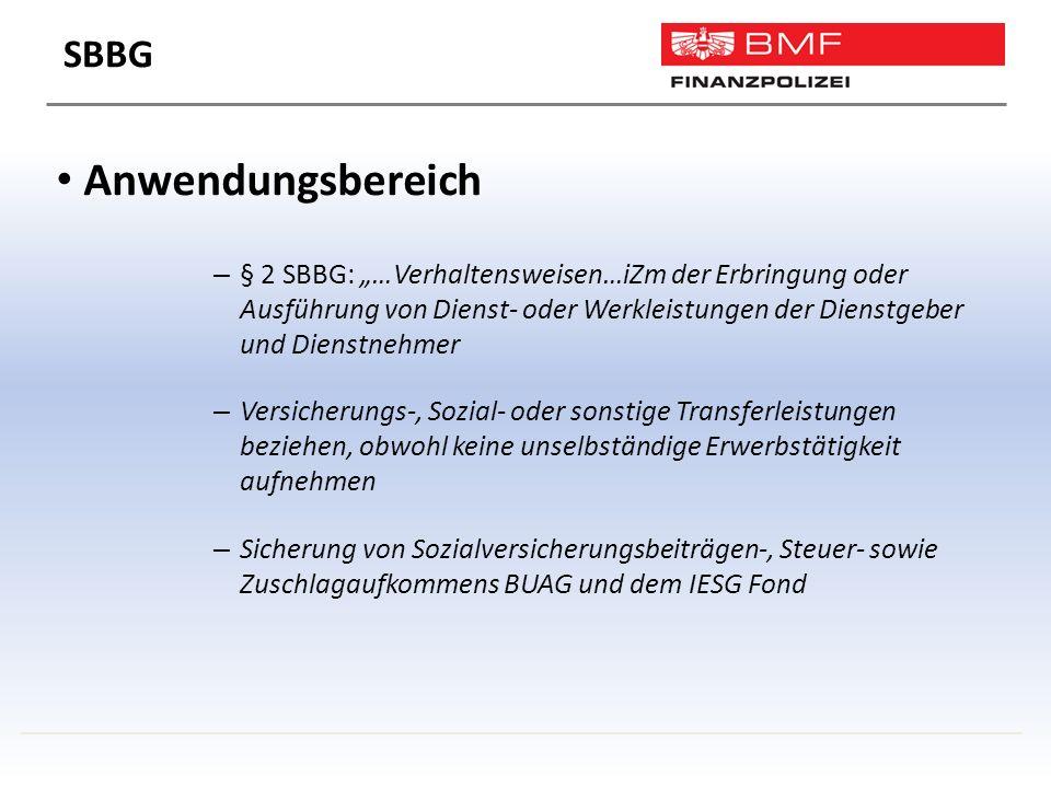 """Anwendungsbereich – § 2 SBBG: """"…Verhaltensweisen…iZm der Erbringung oder Ausführung von Dienst- oder Werkleistungen der Dienstgeber und Dienstnehmer – Versicherungs-, Sozial- oder sonstige Transferleistungen beziehen, obwohl keine unselbständige Erwerbstätigkeit aufnehmen – Sicherung von Sozialversicherungsbeiträgen-, Steuer- sowie Zuschlagaufkommens BUAG und dem IESG Fond SBBG"""
