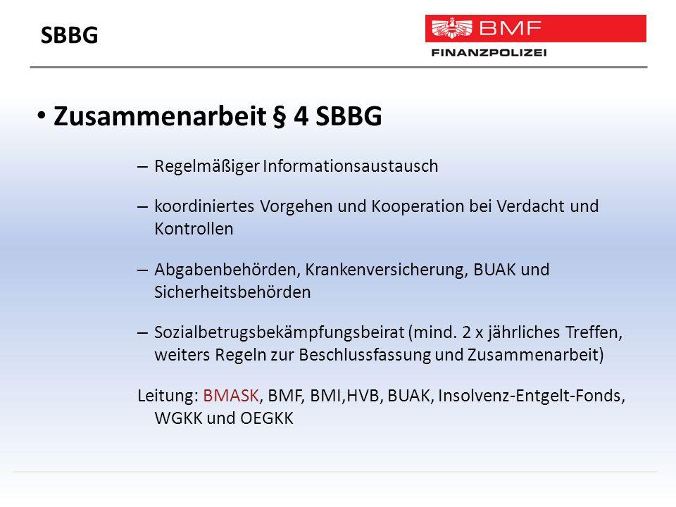 Zusammenarbeit § 4 SBBG – Regelmäßiger Informationsaustausch – koordiniertes Vorgehen und Kooperation bei Verdacht und Kontrollen – Abgabenbehörden, Krankenversicherung, BUAK und Sicherheitsbehörden – Sozialbetrugsbekämpfungsbeirat (mind.