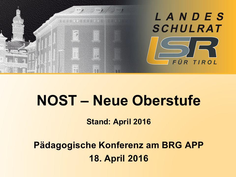 Stand: April 2016 Pädagogische Konferenz am BRG APP 18. April 2016 NOST – Neue Oberstufe