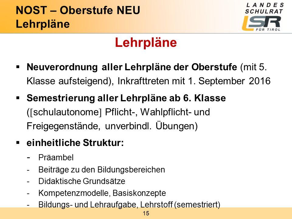 15 Lehrpläne  Neuverordnung aller Lehrpläne der Oberstufe (mit 5.