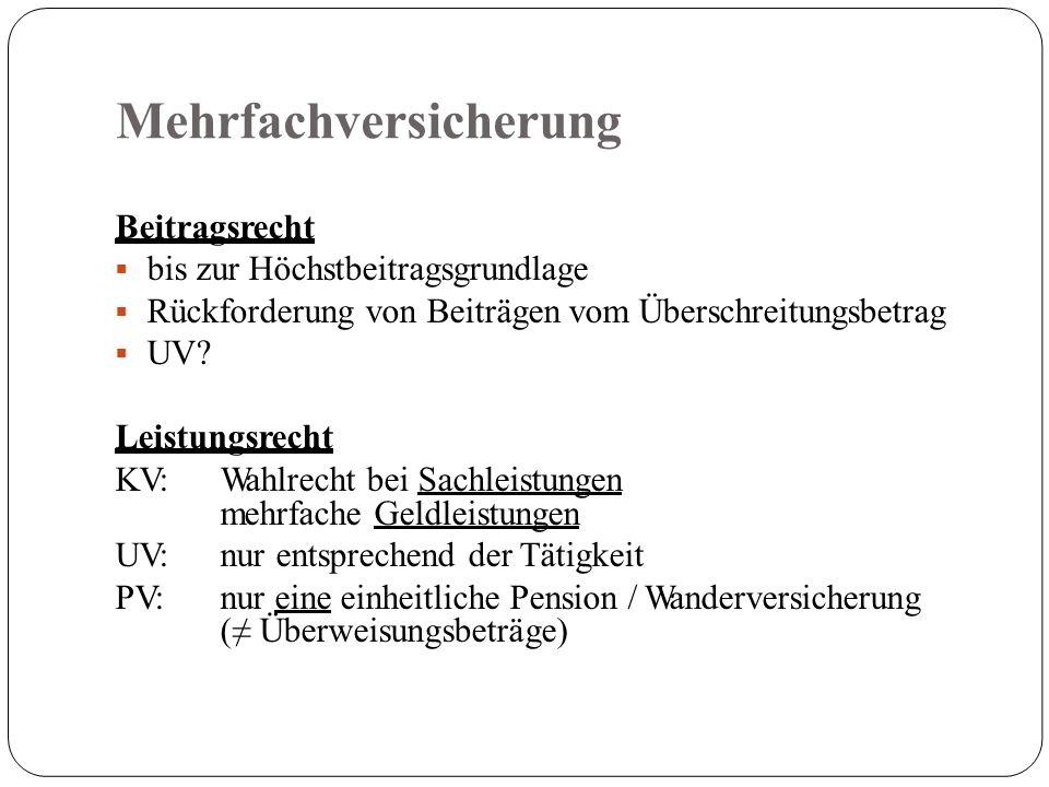 Mehrfachversicherung Beitragsrecht  bis zur Höchstbeitragsgrundlage  Rückforderung von Beiträgen vom Überschreitungsbetrag  UV.