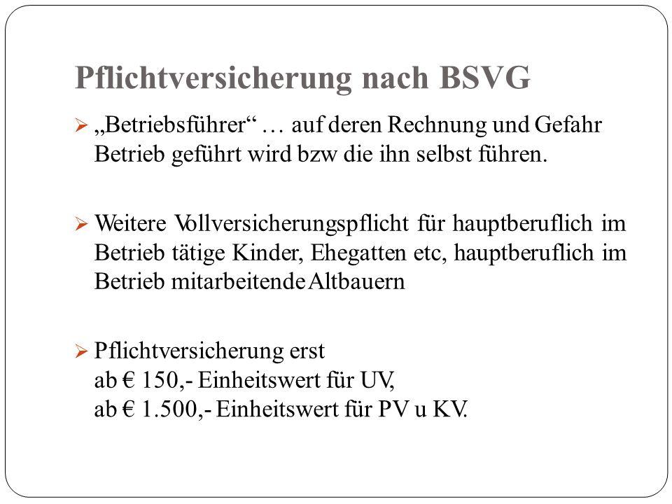 Pflichtversicherung nach BSVG ab € 1.500,- Einheitswert für PV u KV.