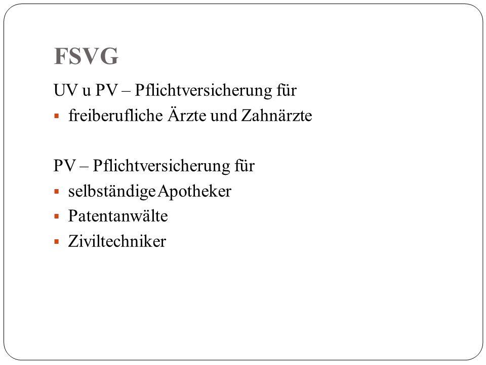 FSVG UV u PV – Pflichtversicherung für  freiberufliche Ärzte und Zahnärzte PV – Pflichtversicherung für  selbständige Apotheker  Patentanwälte  Ziviltechniker