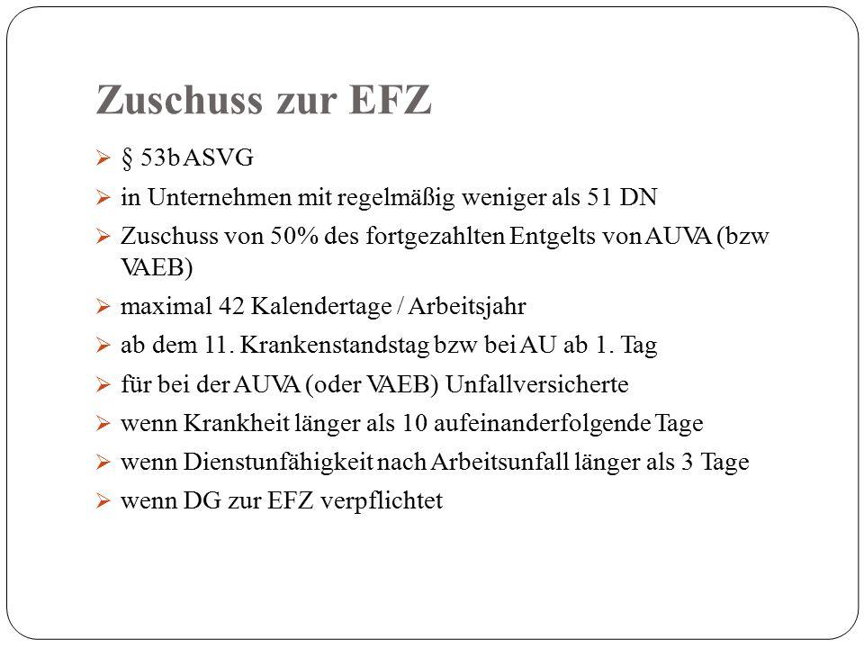 Zuschuss zur EFZ  § 53b ASVG  in Unternehmen mit regelmäßig weniger als 51 DN  Zuschuss von 50% des fortgezahlten Entgelts von AUVA (bzw VAEB)  maximal 42 Kalendertage / Arbeitsjahr  ab dem 11.