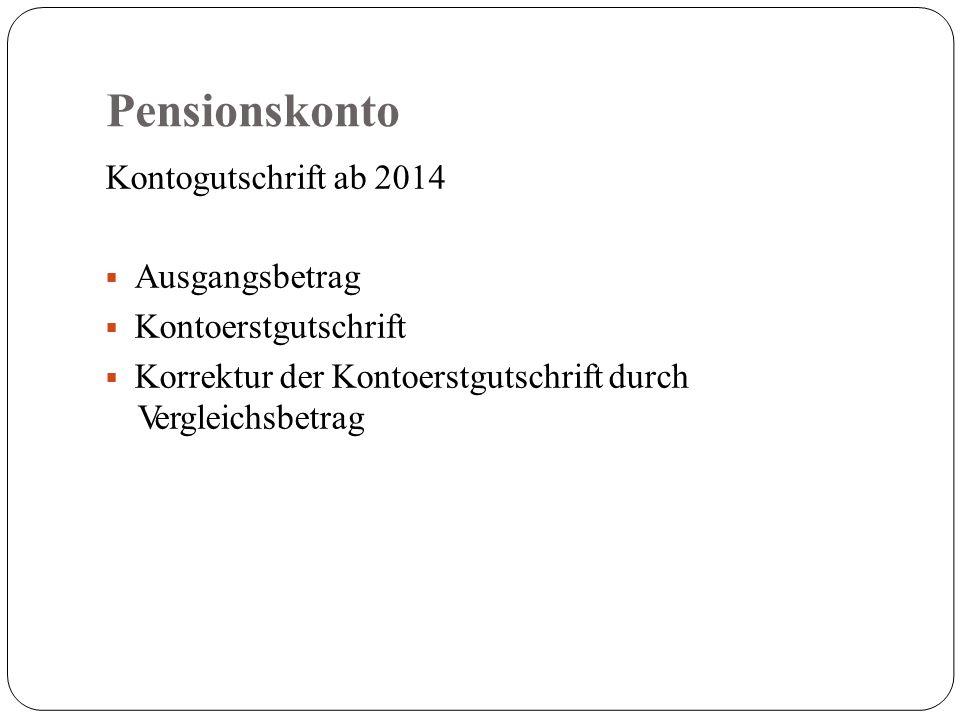 Pensionskonto Kontogutschrift ab 2014  Ausgangsbetrag  Kontoerstgutschrift  Korrektur der Kontoerstgutschrift durch Vergleichsbetrag