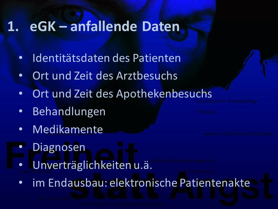 1.eGK – anfallende Daten Identitätsdaten des Patienten Ort und Zeit des Arztbesuchs Ort und Zeit des Apothekenbesuchs Behandlungen Medikamente Diagnosen Unverträglichkeiten u.ä.