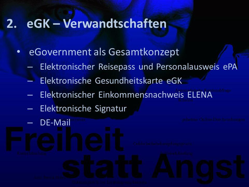 2.eGK – Verwandtschaften eGovernment als Gesamtkonzept – Elektronischer Reisepass und Personalausweis ePA – Elektronische Gesundheitskarte eGK – Elektronischer Einkommensnachweis ELENA – Elektronische Signatur – DE-Mail