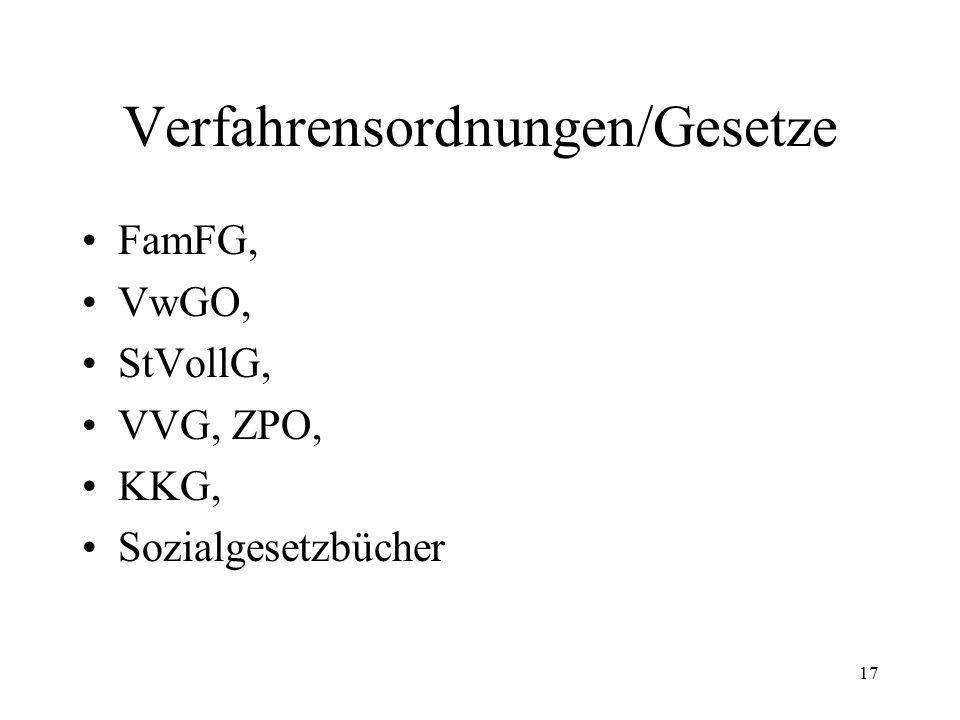 17 Verfahrensordnungen/Gesetze FamFG, VwGO, StVollG, VVG, ZPO, KKG, Sozialgesetzbücher