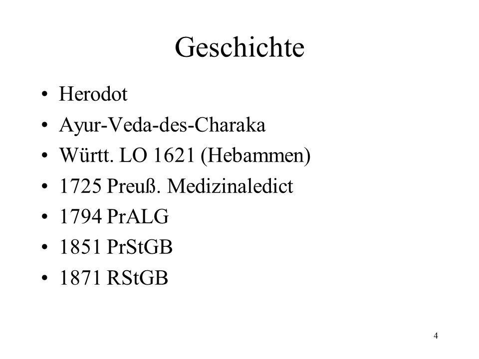 4 Geschichte Herodot Ayur-Veda-des-Charaka Württ. LO 1621 (Hebammen) 1725 Preuß.