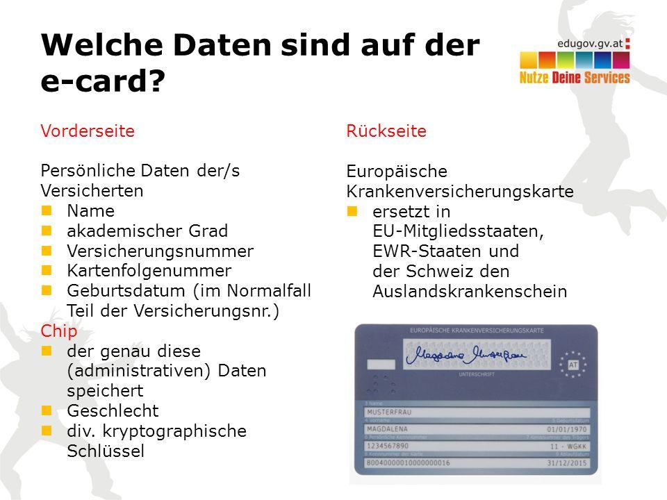Welche Daten sind auf der e-card.