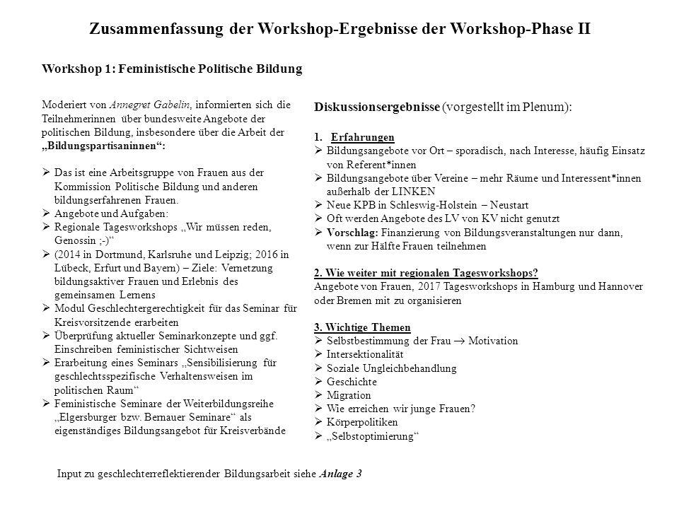"""Zusammenfassung der Workshop-Ergebnisse der Workshop-Phase II Workshop 1: Feministische Politische Bildung Moderiert von Annegret Gabelin, informierten sich die Teilnehmerinnen über bundesweite Angebote der politischen Bildung, insbesondere über die Arbeit der """"Bildungspartisaninnen :  Das ist eine Arbeitsgruppe von Frauen aus der Kommission Politische Bildung und anderen bildungserfahrenen Frauen."""