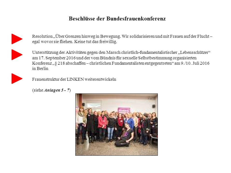 """Beschlüsse der Bundesfrauenkonferenz Resolution """"Über Grenzen hinweg in Bewegung."""