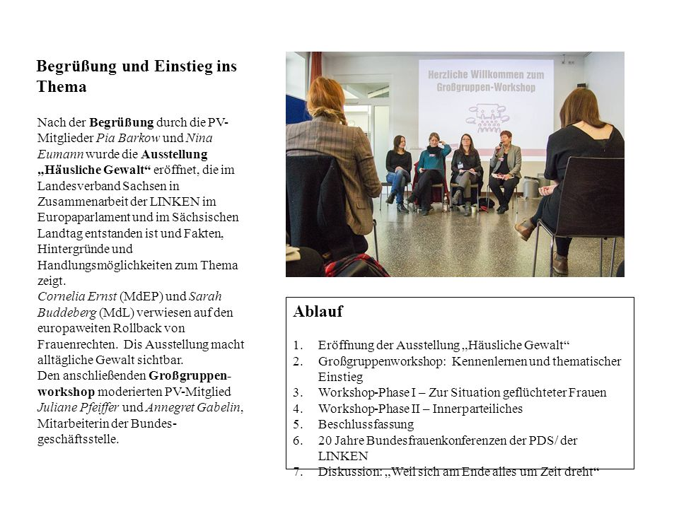 Großgruppenworkshop: Kennenlernen und Einstieg ins Thema In kleinen Gruppen sprachen die Frauen über ihre Erwartungen an die Konferenz.
