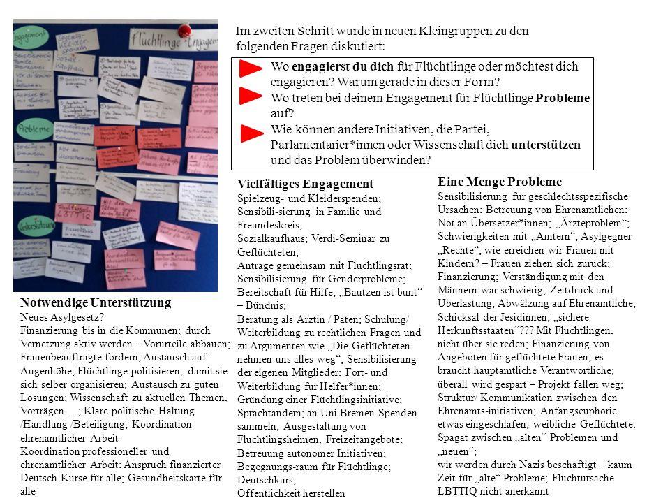 """Zusammenfassung der Workshop-Ergebnisse der Workshop-Phase I Workshop 1: """"Fliehen – Ankommen – Bleiben Im Workshop gab Thomas Hohlfeld, Mitarbeiter der Linksfraktion im Bundestag, einen Überblick über die Rechtslage und die Positionen der LINKEN."""
